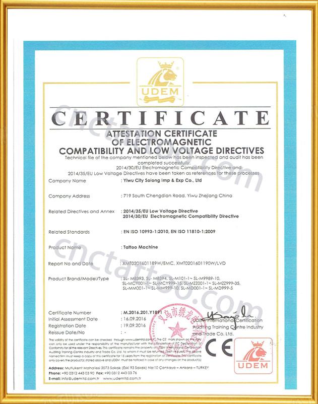tattoo wholesale ce certificate