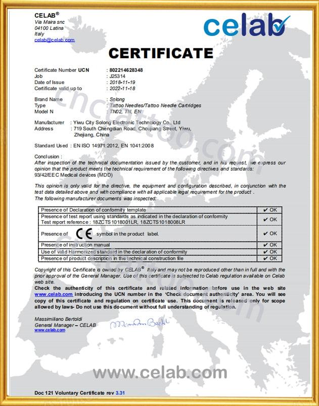 tattoo wholesale of tattoo needle certificate