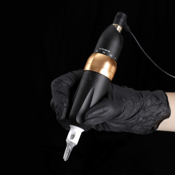 CNC P6 Stroke adjustable rotary tattoo pen in use