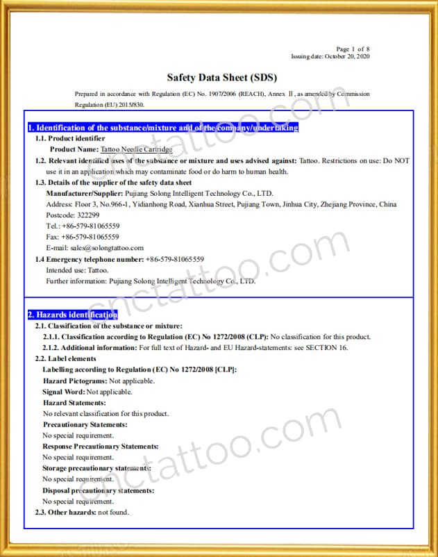 tattoo needle wholesale eu sds certificates