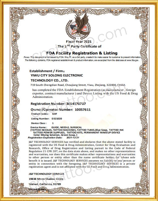 tattoo needle wholesale FDA certificate